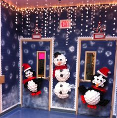 Classroom door decoration  Christmas classroom Cup penguin Cup snowman