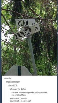 Dean Winchester road sign That's supernatural bro Supernatural Fans, Supernatural Tattoo, Jensen Ackles Supernatural, Supernatural Wallpaper, Sam Dean, Fangirl, The Maxx, The Lord, Winchester Boys