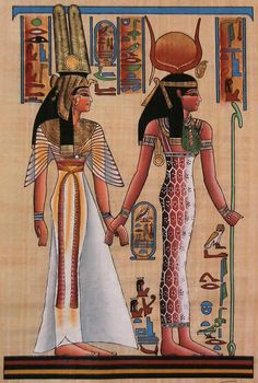 Queen Nefertari and Isis. Wall painting in the tomb of Queen Nefertari. It portrays the ancient Egyptian goddess Isis (right) leading Queen Nefertari by the hand. Nefertari lived from around BC and was the first wife of the Egyptian Pharaoh Ramses II. Egyptian Mythology, Egyptian Goddess, Egyptian Art, Ancient Egyptian Costume, Egyptian Isis, Isis Goddess, Egyptian Queen, Ancient Egypt Art, Ancient History