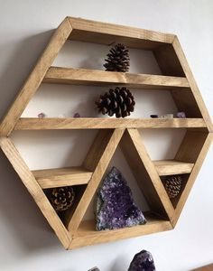Crystal display shelf, hexagon shelf, wall shelf for crystals, healing crystals, wood altar shelf, crystals, stone display, plant shelf, by Lovelifewood on Etsy https://www.etsy.com/uk/listing/531634817/crystal-display-shelf-hexagon-shelf-wall