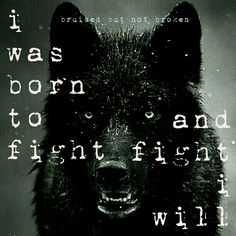 Bruised and broken... I was born to fight, and fight I will.