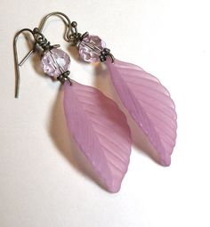 Jewelry, Earrings Mauve, Rose, Lucite Elm Leaf, Czech Pink Faceted Glass, Antique Brass FREE SHIPPING. $5.00, via Etsy.