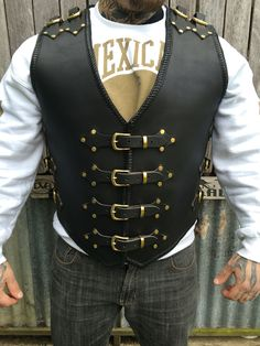 Razorback custom made 4mm buffalo leather vest made to order #dv8customleather