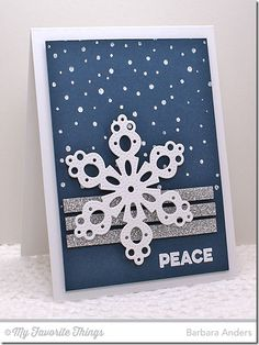 Merry Messages, Snowfall Background, Pierced Snowflakes Die-namics - Barbara Anders #mftstamps