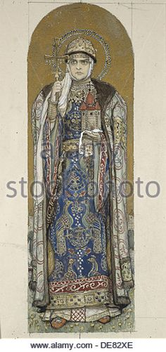 Saint Olga, Princess of Kiev (Study for frescos in the St Vladimir's Cathedral of Kiev), 1884-1889. Artist:  Vasnetsov.