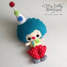 This cute clown doll is ready to cheer up his new friends at his new forever home. He is made from felt and is approx 9 tall. If you would like a