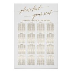 Shop Elegant Gold Calligraphy Tengo Hambre Table Plan Poster created by FreshAndYummy. Seating Plan Wedding, Wedding Reception Tables, Wedding Chairs, Reception Seating Chart, The Wedding Date, Diy Wedding, Elegant Wedding, Wedding Ideas, Wedding Gifts