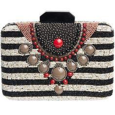 c97da2f9fe50 MALIPARMI Pattina Beaded Stripe Clutch featuring polyvore, women s fashion,  bags, handbags, clutches, beaded handbag, clasp purse, beaded clutches, ...