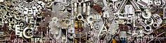 Abstract background of differently assembled metal machine parts.