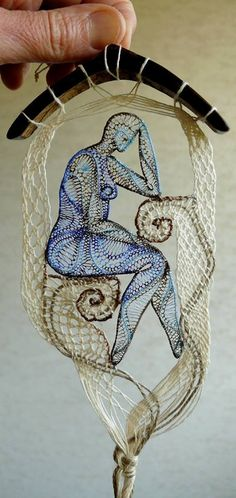 Textile Art Creations by Romanian artist Agnes Hercszeg Sculpture Textile, Textile Fiber Art, Textile Artists, Arte Linear, Lace Art, Lacemaking, Thread Art, Weaving Textiles, Crochet Art