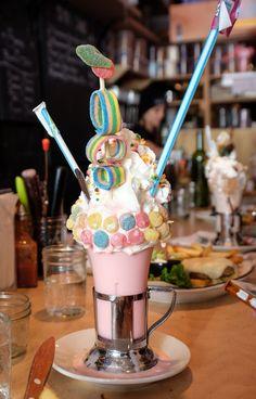 Black Tap and the Craziest Milkshakes in New York City (Adventurous Kate) Milk Shakes, Jack Daniels Soap Dispenser, The Bagel Store, Cute Food, Yummy Food, Makeup Kit For Kids, Food Vids, Weird Food, Crazy Food