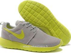 05c5302bcea8c Nike Roshe Run pour Femme Grise Jaune Citron Mesh Nike Roshe Run Pas Cher  Noir Buy