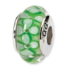 Reflection Beads Sterling Silver Green Floral Hand-blown Glass Bead