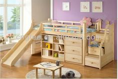 children wooden bed with slide
