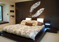 Wall Vinyl Sticker Decals Mural Room Design Pattern Art Bedroom Feathers Pattern Beautiful Nursery A Wall Decor Stickers, Vinyl Wall Decals, Home Decor Wall Art, Home Decor Bedroom, Picture Frame Arrangements, Bedroom Bed Design, Master Bedroom, Wall Stencil Patterns, Living Room Colors