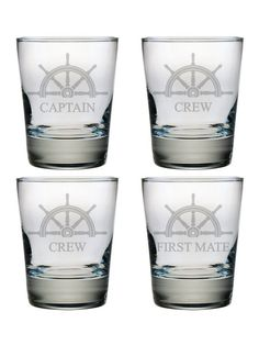 Aye Aye Captain. Set sail with the Captain, First Mate and 2 Crew Members with these Double Old Fashioned Glasses.
