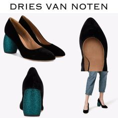 【Dries Van Noten】ブラック×ターコイズ ベルベット パンプス Flats, Shoes, Fashion, Loafers & Slip Ons, Moda, Zapatos, Shoes Outlet, Fashion Styles, Shoe