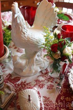 decorative roosters | Found on stonegableblog.com