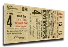 1926 World Series Game 4 Canvas Mega Ticket - St Louis Cardinals