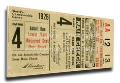 1926 World Series Game 4 Canvas Mega Ticket - St Louis Cardinals