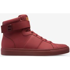 Bally HEGON Men's matte calf leather high-top trainer in dark red (1.644.665 COP) ❤ liked on Polyvore featuring men's fashion, men's shoes, men's sneakers, mens hi top shoes, mens shoes, mens high tops, mens black hi top sneakers and mens lace up shoes