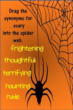Students will drag the synonyms or antonyms of a given word into the spider web. Great Halloween vocabulary fun! Vocabulary Practice, Vocabulary Activities, Classroom Activities, Halloween Vocabulary, Halloween Games, Multiple Meaning Words, Synonyms And Antonyms, Root Words, Syllable