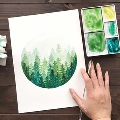 I've been feeling so inspired by these days! Go check out her misty pines—they give me life ☺️ . If you're inspired by this post and try it yourself, please use my hashtag so I can see what you create . I like the circle idea for the easy-change Art Inspo, Painting Inspiration, Watercolour Painting, Painting & Drawing, Watercolor Trees, Painting Canvas, Watercolor Landscape, Watercolours, Watercolor Design