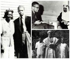 Today we remember the rare moments of Malcolm - What are some of the rarest quotes you recall from him? (Photo caption: Top right: Malcolm meet King Faisal al-Saud; Bottom right: Malcolm X in Nigeria; Left: Malcolm X with his Sister Ella Collins) Malcolm X, Photo Caption, We Remember, Black History, Che Guevara, In This Moment, Artist, Photography, Meet