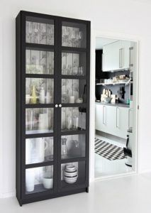 Beautiful Black Display Cabinet with Glass Doors