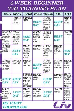 Triathlon Training Calendar