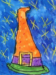 Art Halloween, Halloween Art Projects, Bricolage Halloween, Fall Art Projects, School Art Projects, Halloween Themes, Projects For Kids, October Art, 2nd Grade Art