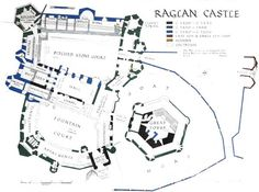 Raglan Castle_layout of medevil castles Medieval Castle Layout, Castle Floor Plan, Real Castles, Castles In Wales, Castle Pictures, Fantasy Map, Historical Architecture, Fantasy Inspiration, Cartography