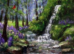 """ACEO Miniature Painting """"Twin Falls"""" Forest Creek Summer Cardinal by K.Manuel #Impressionism"""