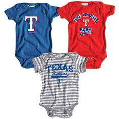 Texas Rangers 3 Pack Boys Big League Baby Creeper Set by Soft as a Grape