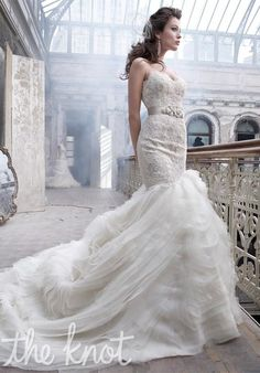 Style 3201 by Lazaro. This gown features beading, embroidery and lace. l TheKnot.com