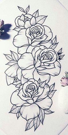 Flower designs [Confira vários] - Drawings to draw - Wking - Realistic Flower Drawing, Cute Flower Drawing, Beautiful Flower Drawings, Flower Design Drawing, Flower Drawings With Color, Flower Sketches, Drawing Flowers, Rose Drawing Tattoo, Tattoo Design Drawings