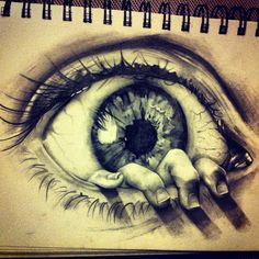 Captures emotion i.e trapped, escaping Pencil drawing