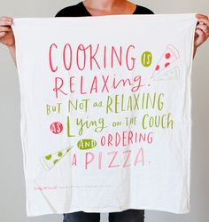 "Cooking Is Relaxing Cotton Screen Printed 30""x30"" Tea Towel, Dish Towel, Kitchen Towel"