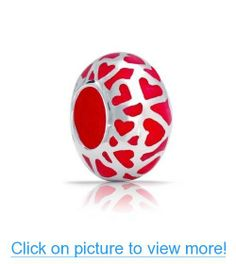 Valentines Day Gifts Bling Jewelry Silver Red Enamel Love Heart Bead Fit Pandora