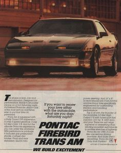 - Knight Rider : Pontiac Firebird Trans Am General Motors, Pontiac Cars, Pontiac Firebird Trans Am, Car Brochure, Gm Car, Car Advertising, Performance Cars, Sexy Cars, Vintage Ads