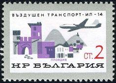Znaczek: Iljuschin Il-14M over Plovdiv (Bułgaria) (Development of Bulgarian Civil Air) Mi:BG 1584,Sn:BG 1457,Yt:BG 1377