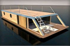 Le Fredaine, l'habitat fluvial Floating Picnic Table, Small Houseboats, House Boats For Sale, Floating Architecture, Shanty Boat, Houseboat Living, Small Cottage Homes, Casas Containers, Water House