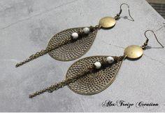 Bijou Créateur - Boucles d'oreilles pendantes bronze Breloques pendentifs…