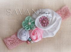 White,mint and lt.Pink shabby chic baby headband, pink flower headband, baby girl headband, newborn toddler headband