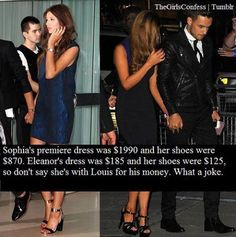 Eleanor Calder and Sophia Smith ((no hate)) love them both. Just pointing out that everyone accepts Sophiam for love but some people don't accept Elounor for the same reason.they think they are dating for the fame. One Direction Girlfriends, One Direction Memes, The Girlfriends, I Love One Direction, Louis And Eleanor, Louis And Harry, Sophia Smith, Liam Payne, Louis Tomlinson