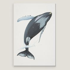 The majestic humpback whale is depicted breaching in this enchanting, lifelike piece. Printed using state-of-the-art technology, this affordable artwork is a timeless update for any room.