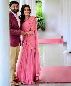 Half Saree Lehenga, Lehenga Saree Design, Lehenga Gown, Lehnga Dress, Bridal Lehenga Choli, Lehenga Designs, Saree Wedding, Sarees, Kerala Engagement Dress