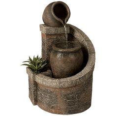 """Verona Faux Brick Indoor/Outdoor 35"""" High Garden Fountain - Style # 55656"""
