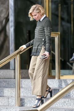 Sienna Miller's Look for 2015 (15\01) - Vogue Sonia Rykiel sweater, shirt, and pants and Pierre Hardy shoes