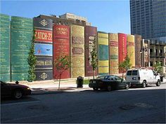 This is the parking ramp for the downtown Kansas City MO library. It is, of course, a facade, to pretty up what's traditionally an ugly type of structure, and really makes an impression as to what the building is all about.